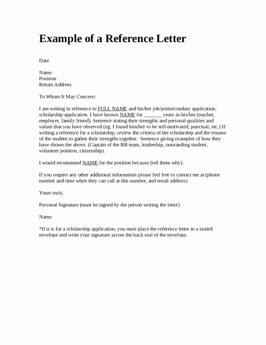 Formats for Letter Of Recommendation Elegant Free Example Of A Reference Letter Edit Fill Sign