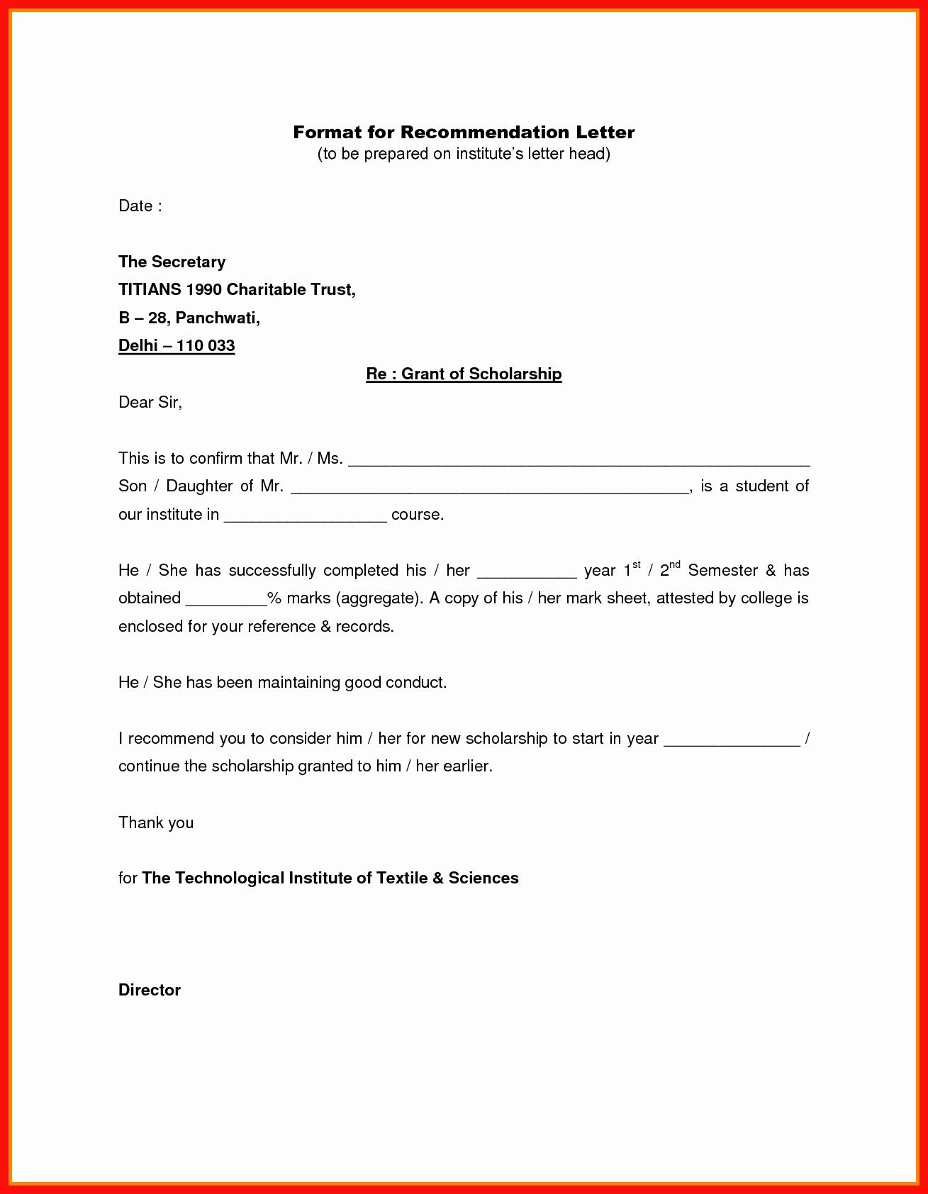 Formats for Letter Of Recommendation Elegant Reference Letter Heading