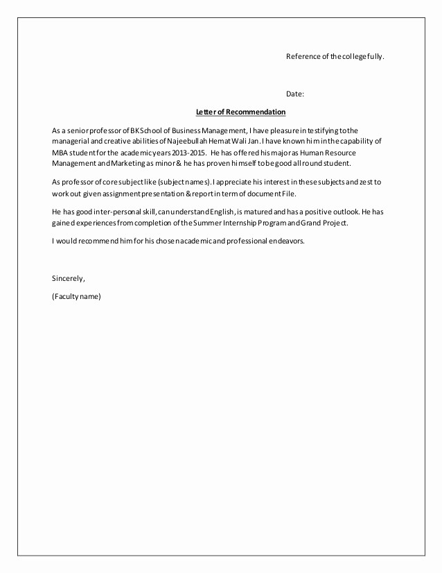 Formats for Letter Of Recommendation Fresh Re Mendation Letter format