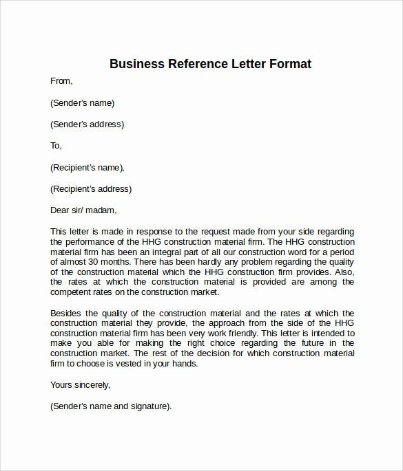 Formats for Letter Of Recommendation Inspirational 8 Sample Reference Letter formats Examples to Download
