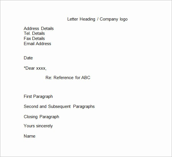Formats for Letter Of Recommendation Lovely 12 Free Business Reference Letters to Download
