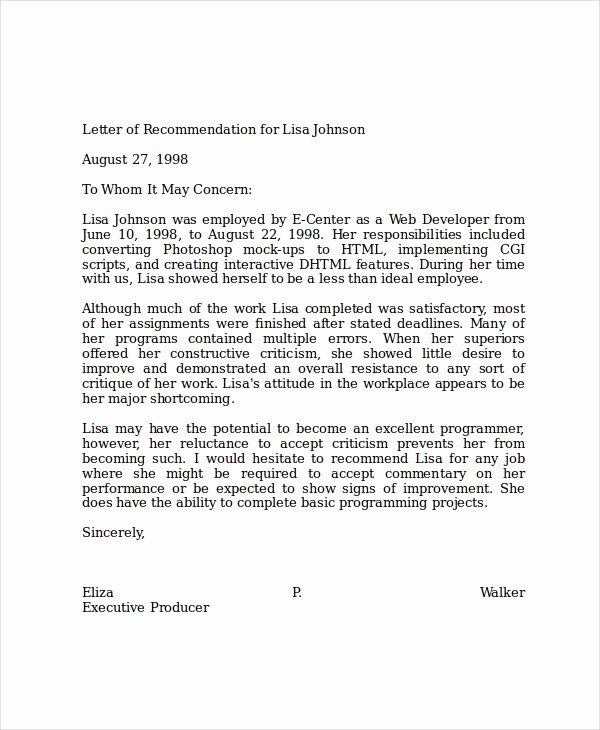 Formats for Letter Of Recommendation Lovely 19 Professional Reference Letter Template Free Sample