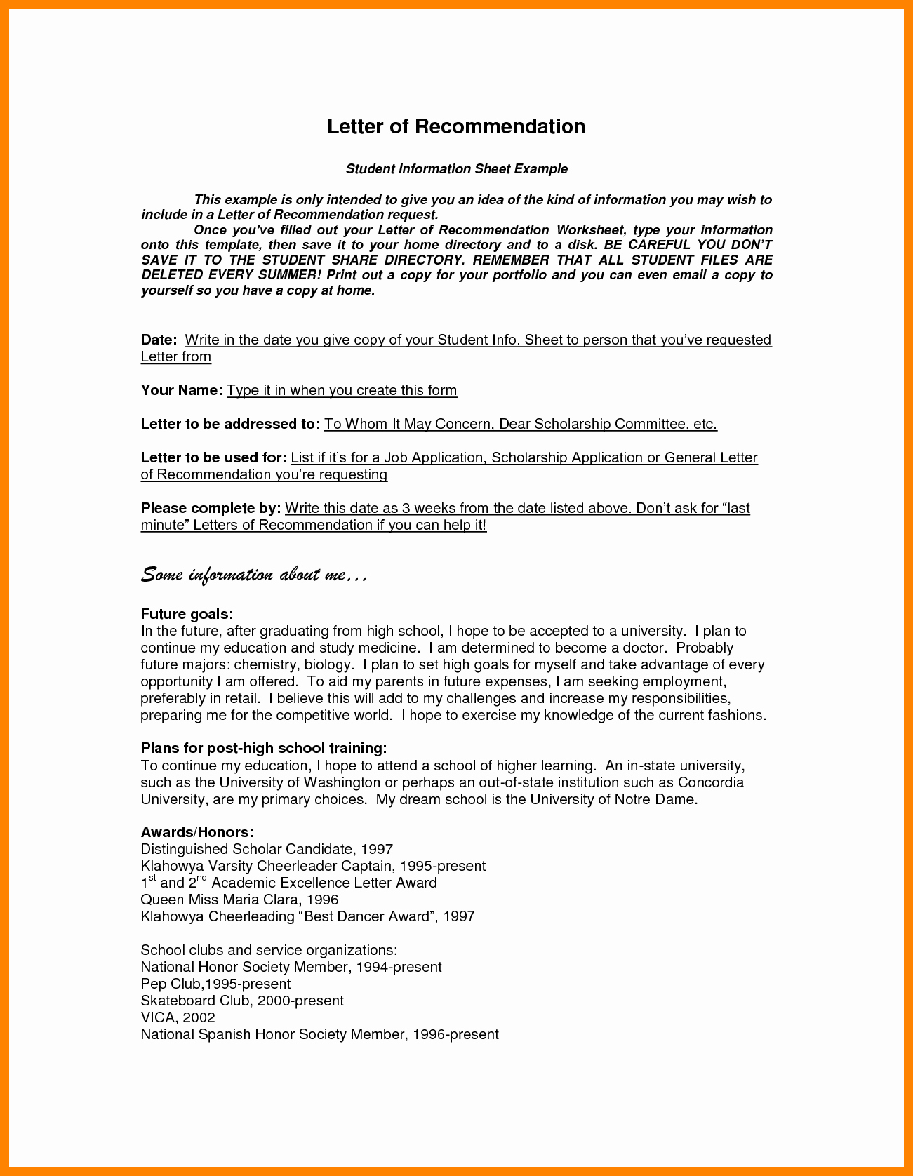 Formats for Letters Of Recommendation Awesome Letter Re Mendation Word Template