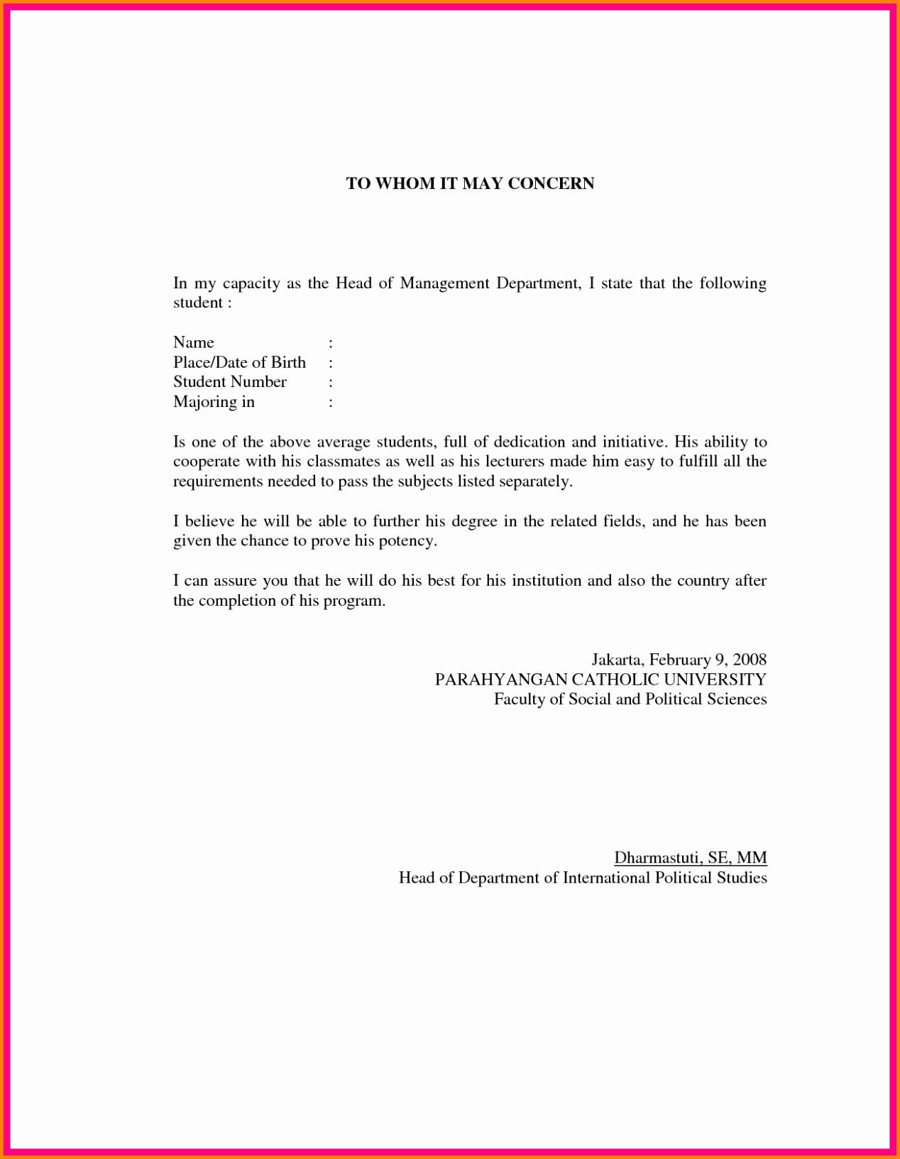 Formats for Letters Of Recommendation Elegant Letter Of Re Mendation format Sample Template