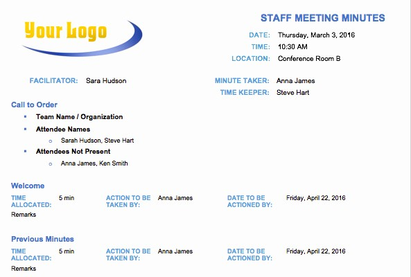 Formats Of Minutes Of Meeting Best Of Free Meeting Minutes Template for Microsoft Word