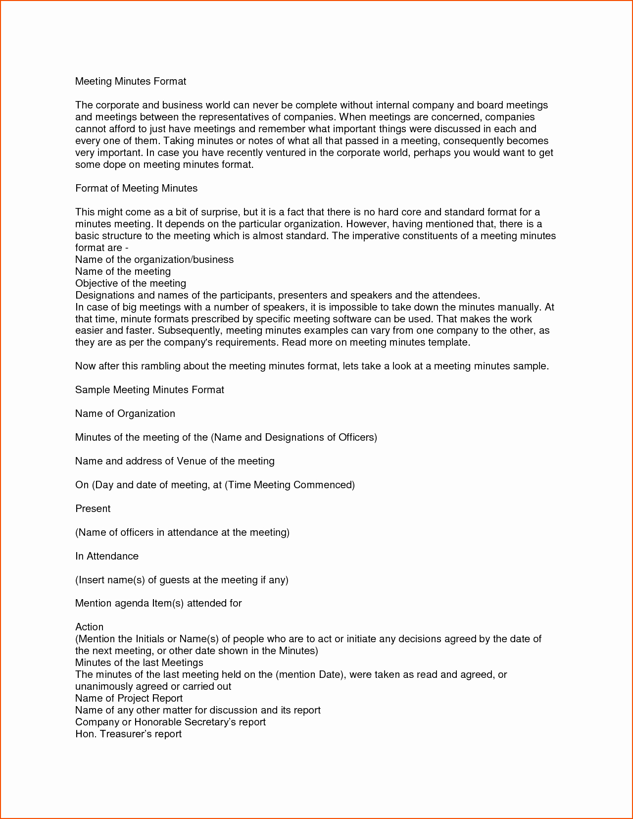 Formats Of Minutes Of Meeting Fresh 7 Meeting Minutes format Bookletemplate