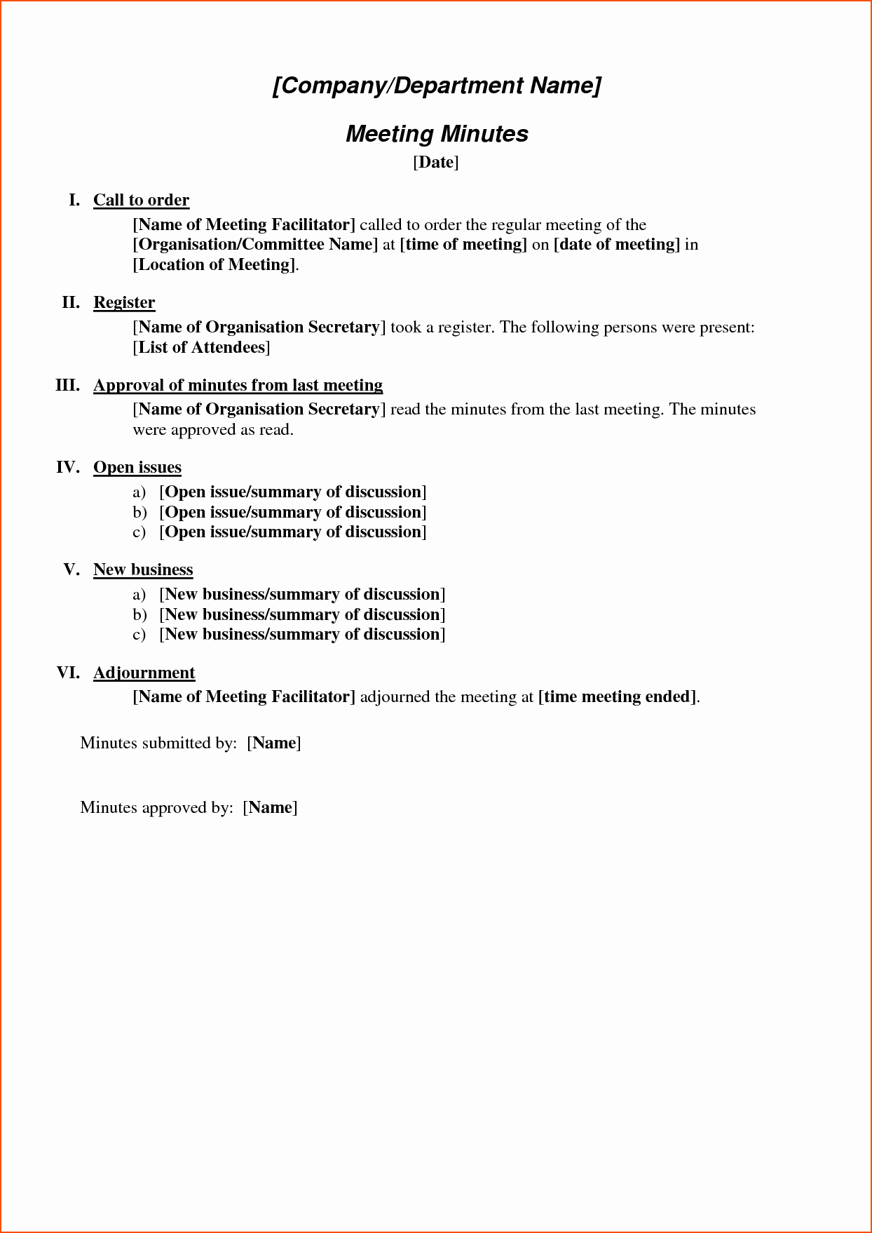 Formats Of Minutes Of Meeting Inspirational 6 format for Meeting Minutes Bookletemplate