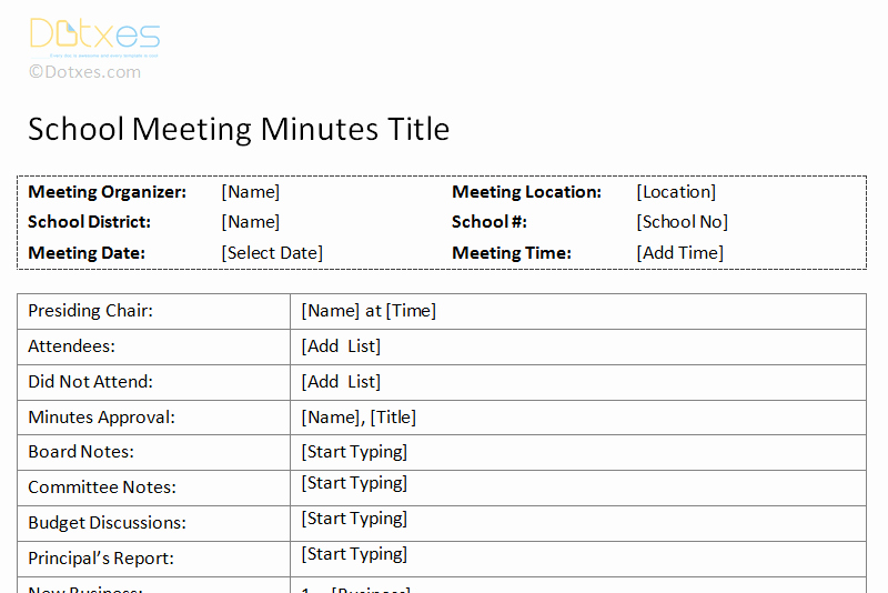 Formats Of Minutes Of Meeting Inspirational Meeting Minutes Template Free Printable formats for Word