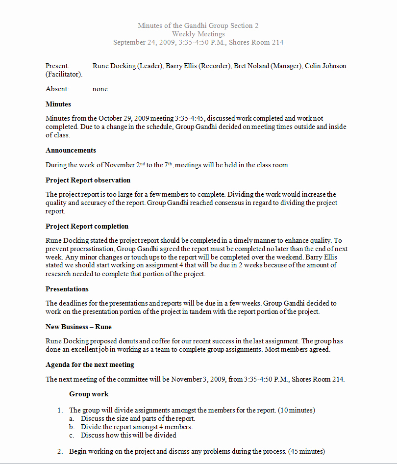 Formats Of Minutes Of Meeting Inspirational Writing Samples