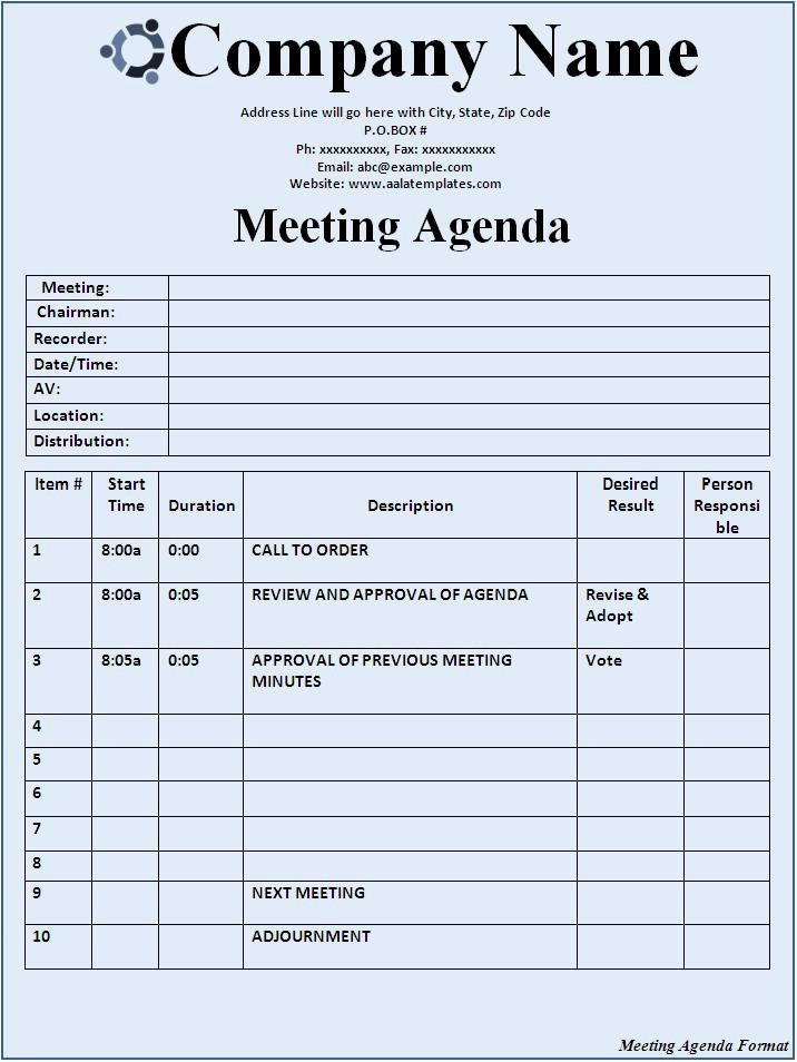 Formats Of Minutes Of Meeting Luxury 15 Meeting Agenda Templates Excel Pdf formats