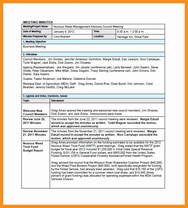 Formats Of Minutes Of Meeting Luxury 9 10 Sample format for Minutes Of the Meeting