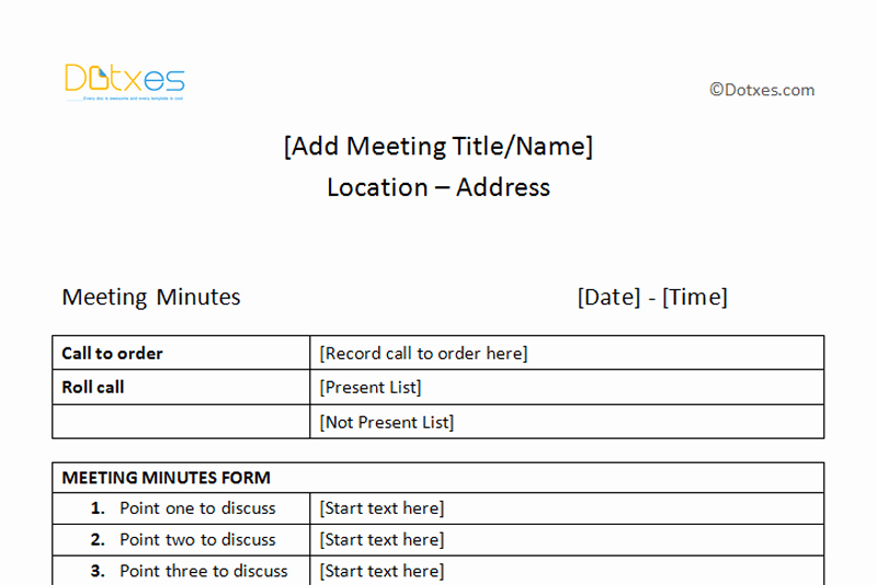 Formats Of Minutes Of Meeting Unique Meeting Minutes Template Free Printable formats for Word