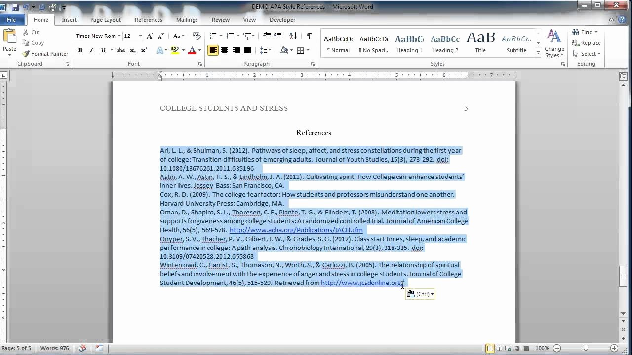 Formatting Apa Paper In Word Unique Collection solutions Apa Style Reference Page Youtube