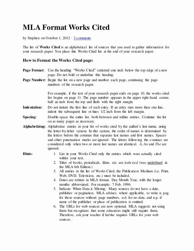 Formatting Mla Works Cited Page Best Of Mla format Works Cited