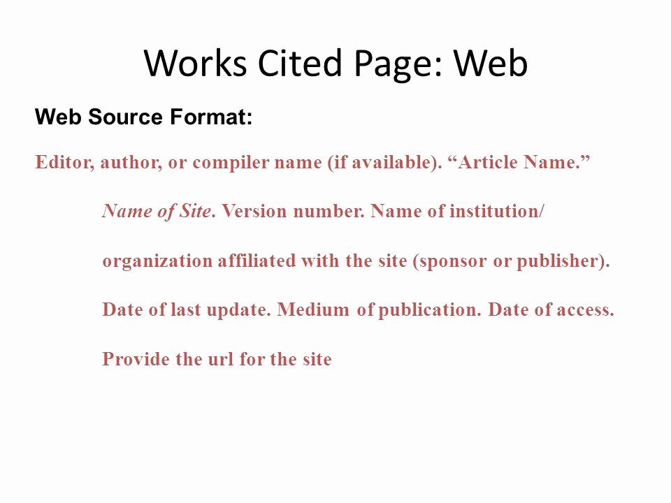Formatting Mla Works Cited Page Unique Mla formatting Ppt