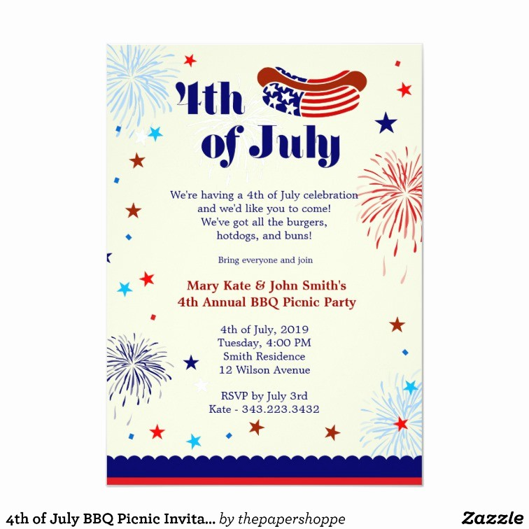 Fourth Of July Invitation Template Awesome 4th Of July Bbq Picnic Invitation Party