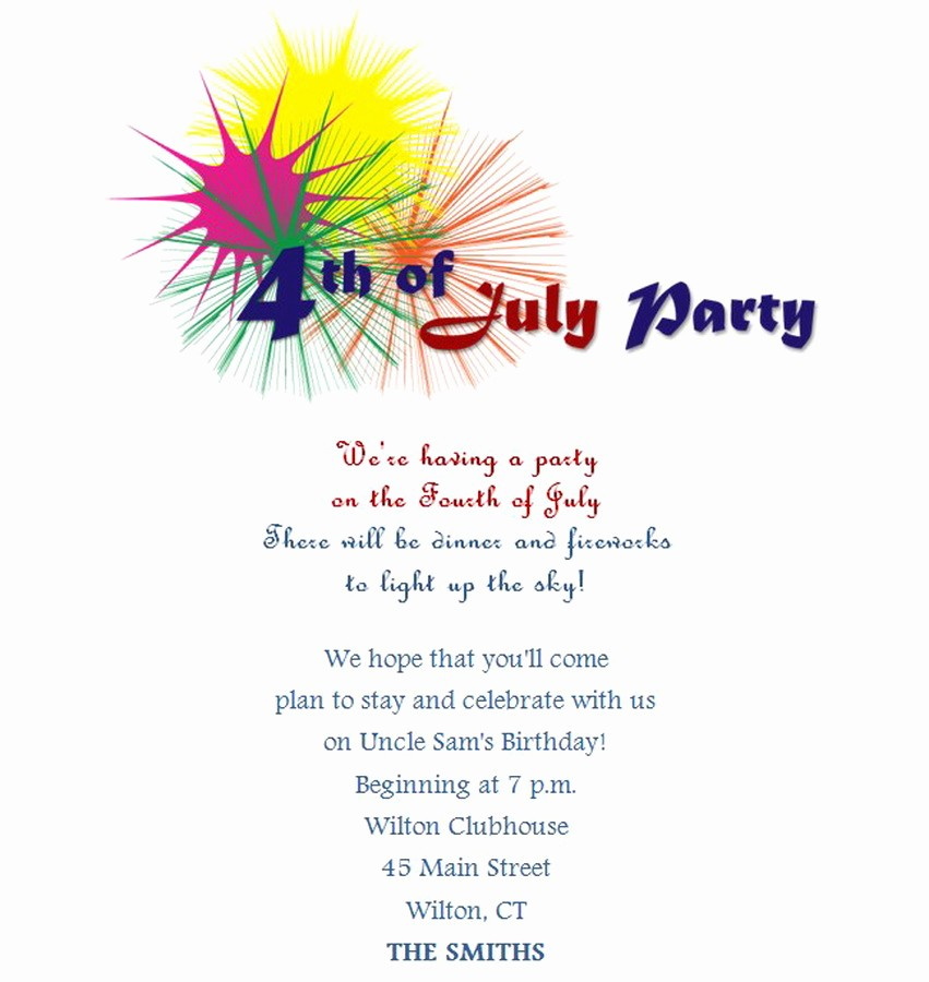 Fourth Of July Invitation Template Awesome 4th Of July Party Invitations 7 Free Wording
