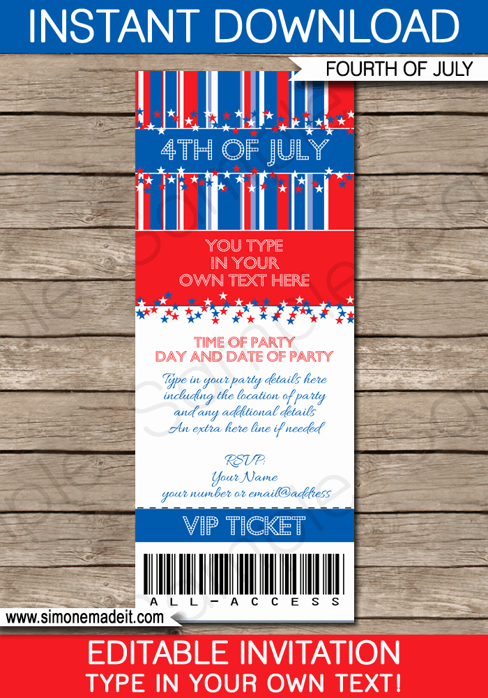 Fourth Of July Invitation Template Awesome 4th Of July Party Ticket Invitations Template