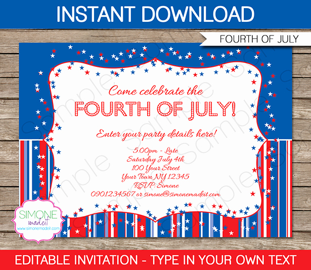 Fourth Of July Invitation Template Awesome Fourth Of July Party Invitations Template