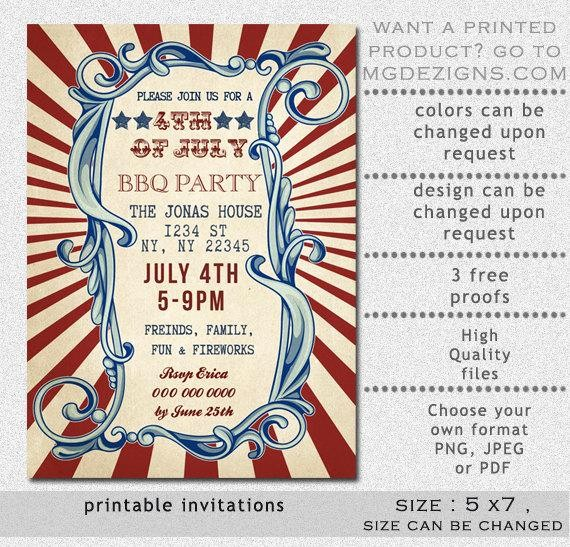 Fourth Of July Invitation Template Awesome Printable Rustic 4th Of July Party Invitation Templates