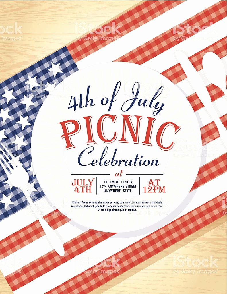 Fourth Of July Invitation Template Beautiful 4th July with American Flag Picnic Invitation Design