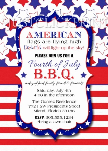 Fourth Of July Invitation Template Beautiful 4th Of July Bbq Red White Blue Fourth Of July Printable