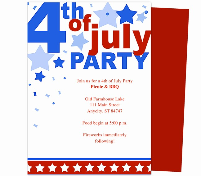 Fourth Of July Invitation Template Beautiful 6 Best Of 4th July Invitations Templates