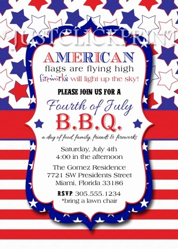 Fourth Of July Invitation Template Best Of 4th Of July Bbq Red White Blue Fourth Of July Printable