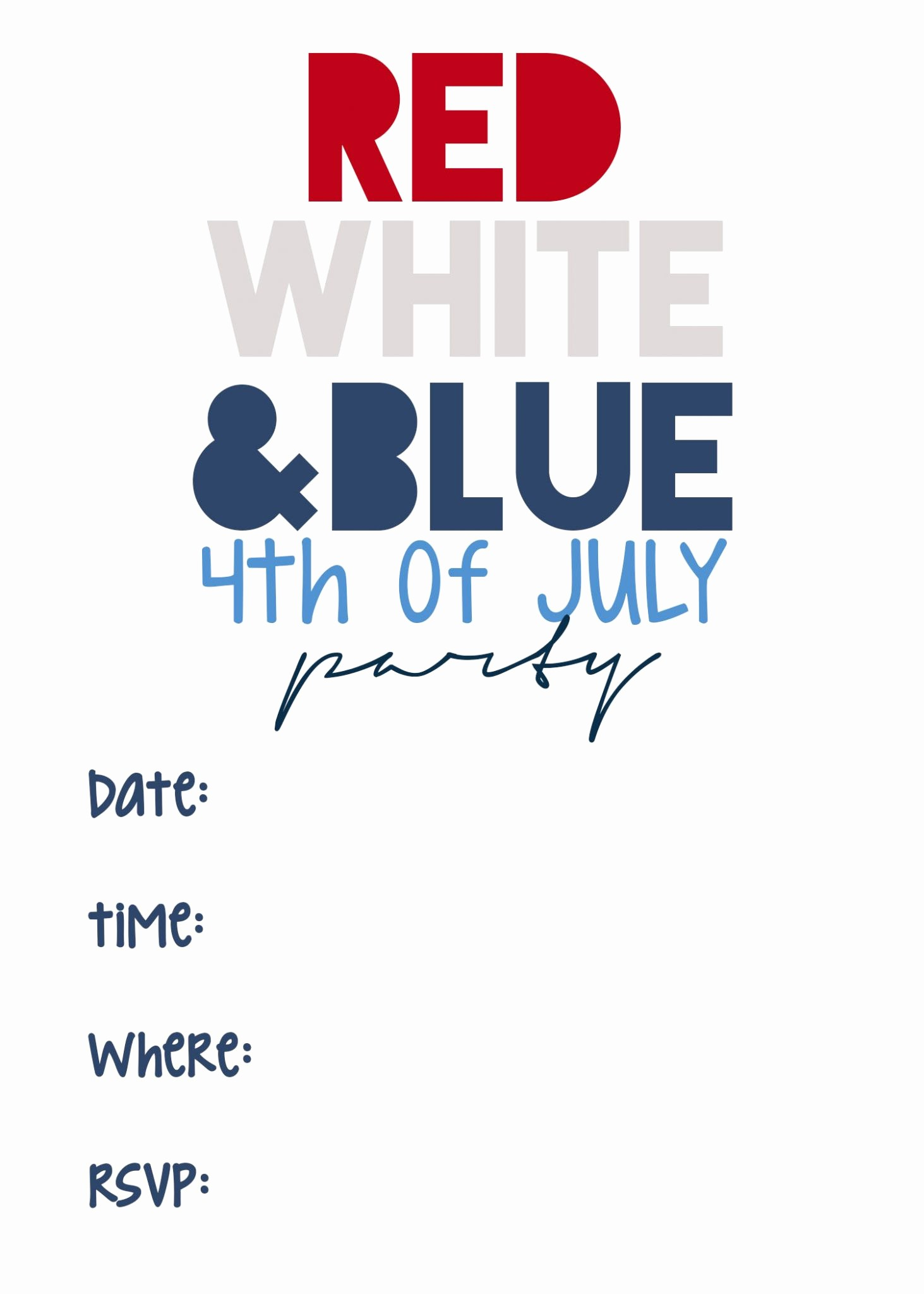 Fourth Of July Invitation Template Best Of 4th Of July Printable Invitations