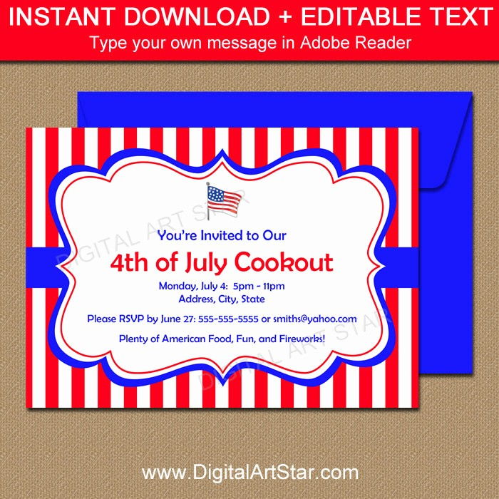 Fourth Of July Invitation Template Best Of Printable 4th Of July Invitation Template July 4th Cookout
