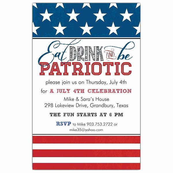 Fourth Of July Invitation Template Fresh Be Patriotic Invitations