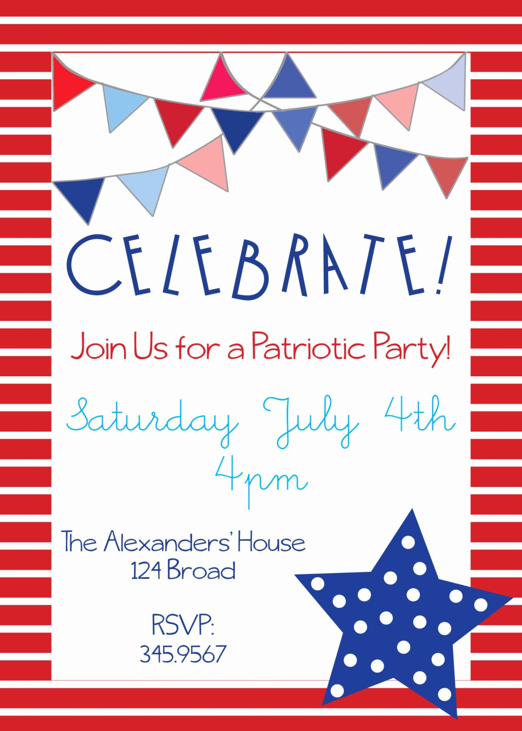 Fourth Of July Invitation Template Fresh Patriotic Party Invitations for Memorial Day 4th Of July or