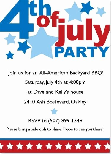 Fourth Of July Invitation Template Inspirational Fourth July Invitations Big Fourth Of July Party