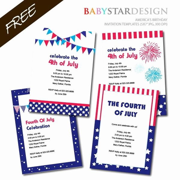Fourth Of July Invitation Template Inspirational Free Printable 4th July Birthday Party Invitation