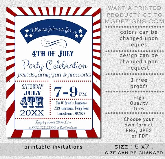 Fourth Of July Invitation Template Inspirational Printable Retro 4th Of July Party Invitation Templates