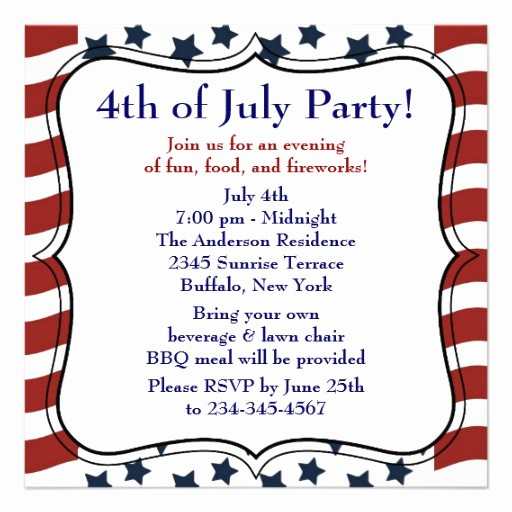 Fourth Of July Invitation Template Inspirational Stars Stripes 4th Of July Bbq Party 5 25x5 25 Square Paper