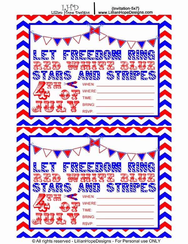 Fourth Of July Invitation Template Lovely Free Printable 4th July Birthday Party Invitation