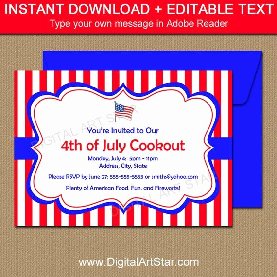 Fourth Of July Invitation Template Lovely Printable 4th Of July Invitation Template July 4th