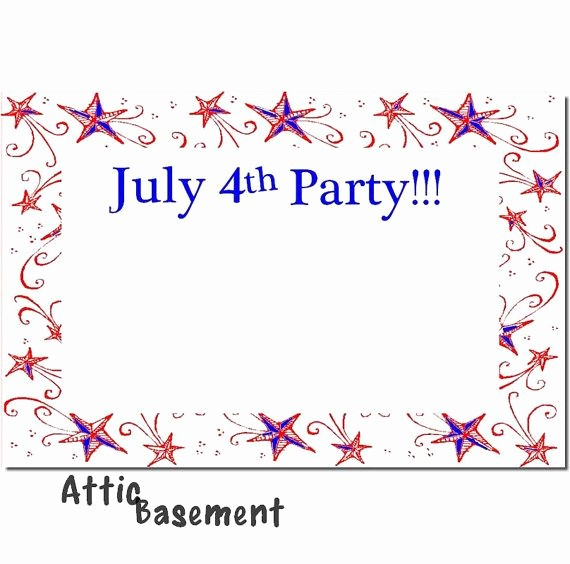 Fourth Of July Invitation Template Luxury July 4th Fourth Party Invitation Instant Download Card