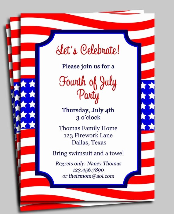 Fourth Of July Invitation Template Unique Fourth Of July Invitation Printable Celebration Birthday