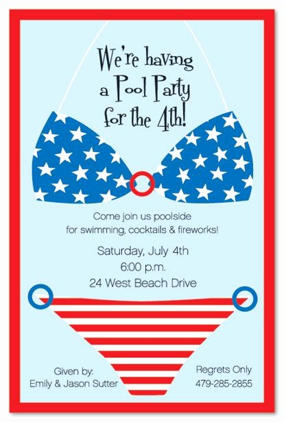 Fourth Of July Party Invitations Awesome Bikini Usa July 4th Pool Party and Fireworks