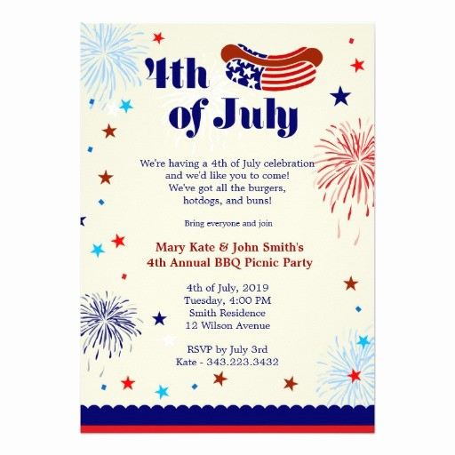 Fourth Of July Party Invitations Beautiful 4th Of July Bbq Picnic Invitation Party