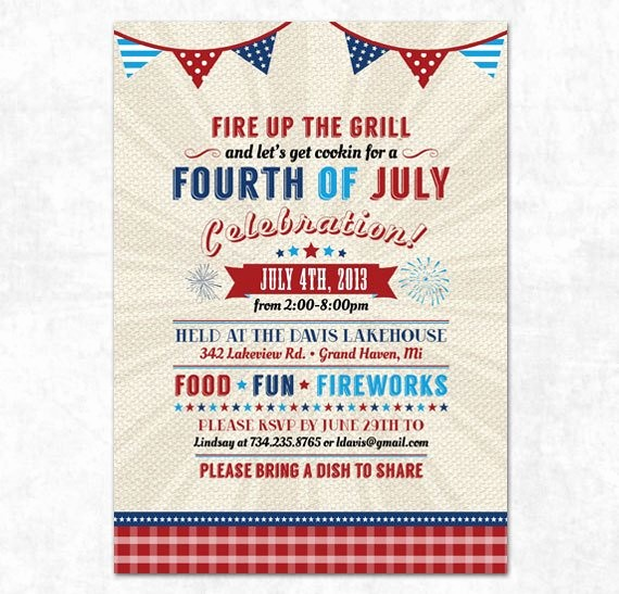 Fourth Of July Party Invitations Beautiful Items Similar to Printable 4th Of July Invitation Fourth