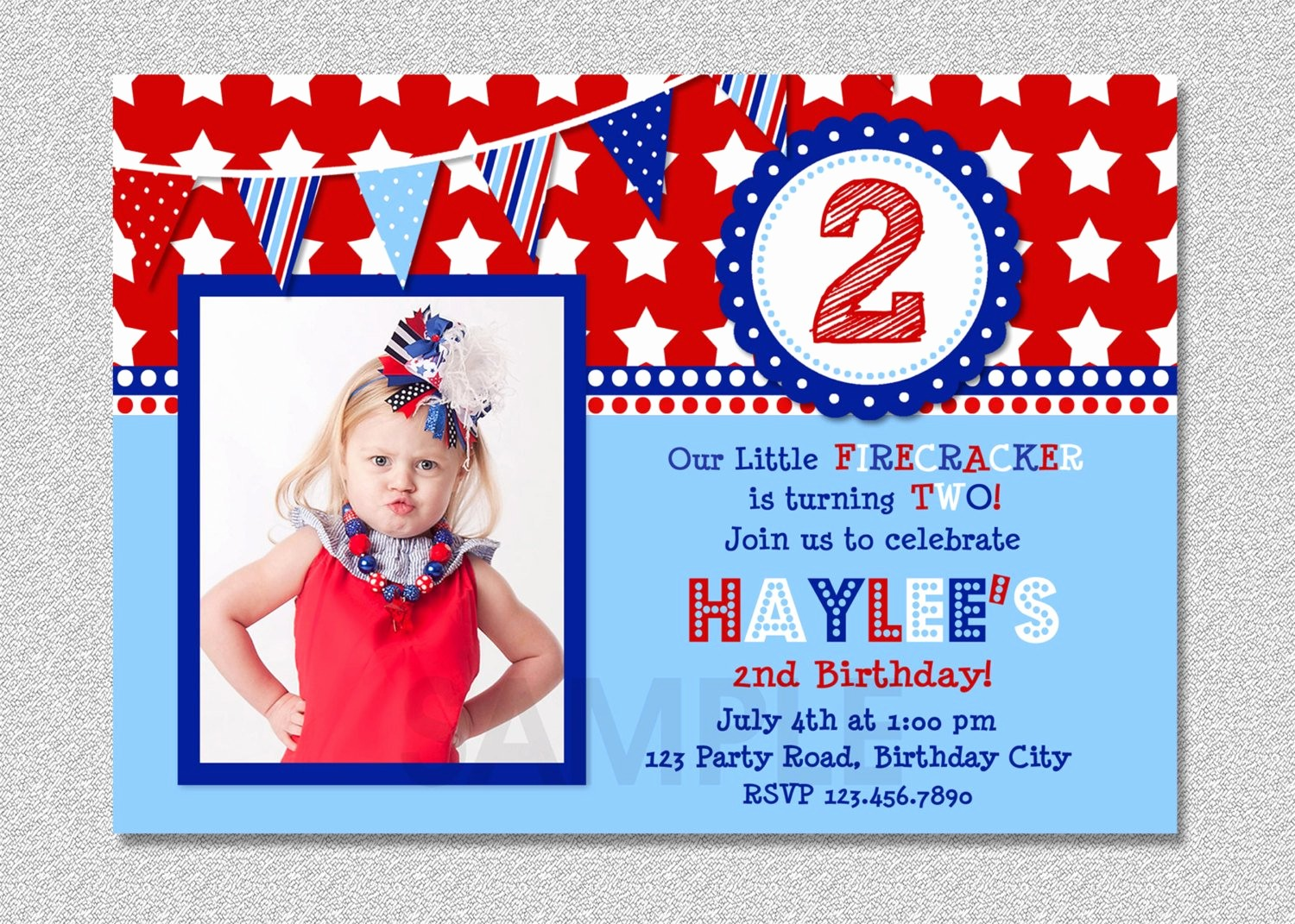 Fourth Of July Party Invitations Best Of 4th Of July Birthday Invitation Red White by