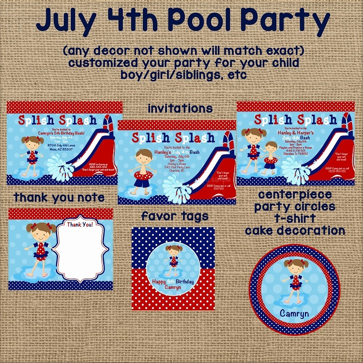 Fourth Of July Party Invitations Best Of 4th Of July Pool Party Invitations Twins Siblings