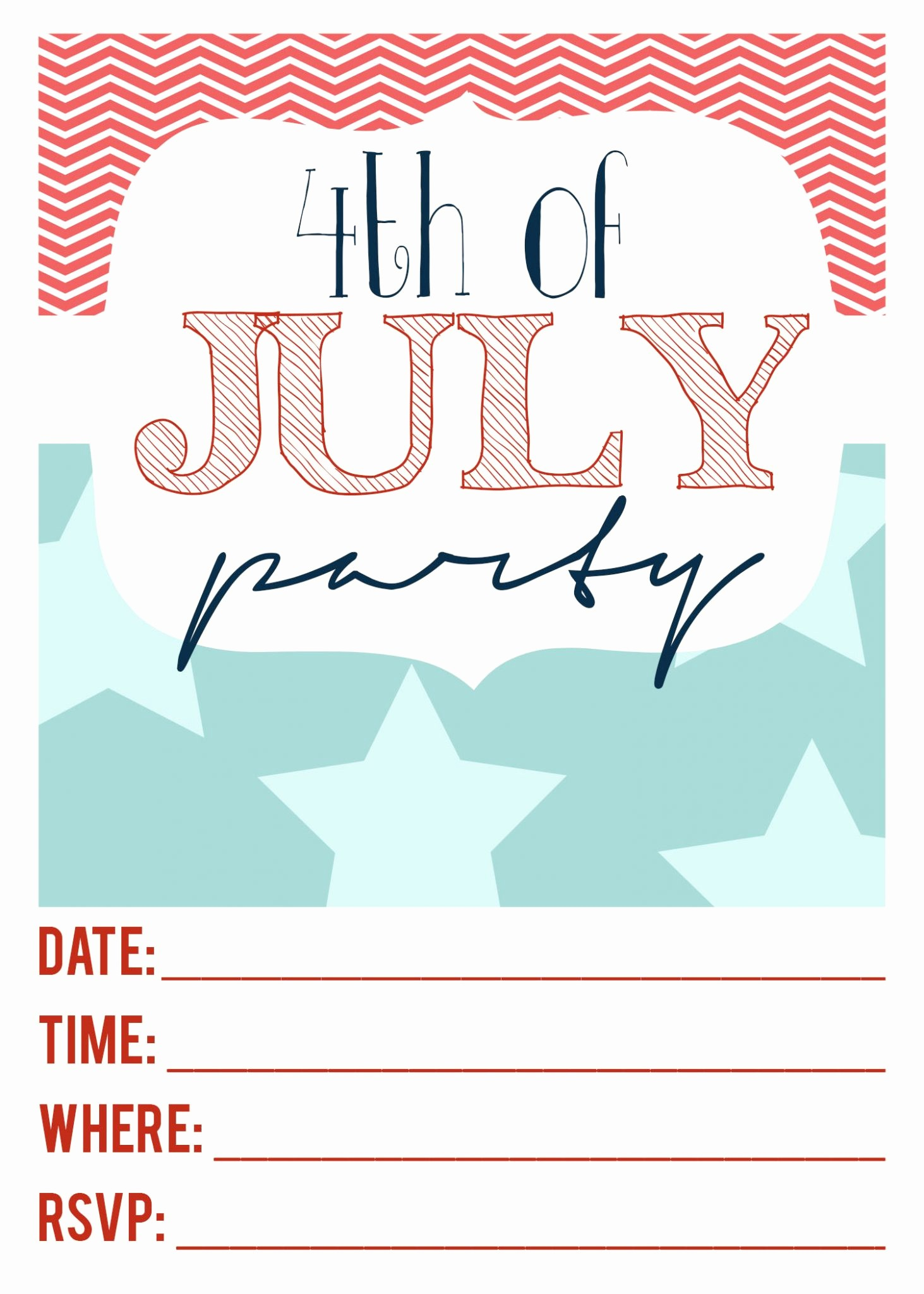 Fourth Of July Party Invitations Best Of 4th Of July Printable Invitations