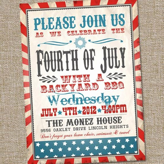 Fourth Of July Party Invitations Best Of Fourth Of July Invitation Vintage Fourth Of July Invitation