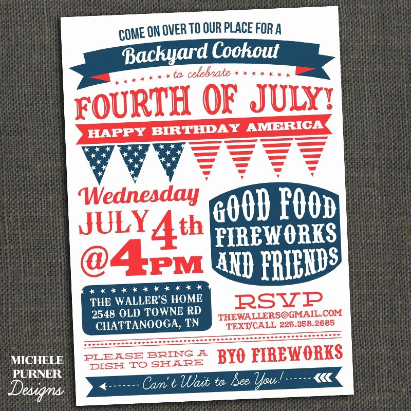 Fourth Of July Party Invitations Best Of Fourth Of July Party Invitation Bbq Clam by