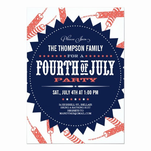 Fourth Of July Party Invitations Elegant Freedom Fireworks Fourth Of July Party Invitations