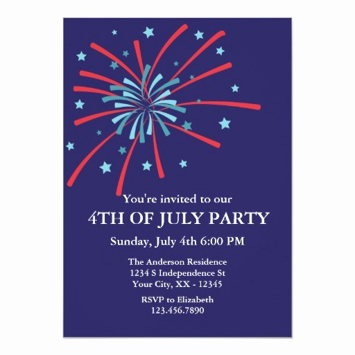 Fourth Of July Party Invitations Fresh Fireworks 4th Of July Party Invitation
